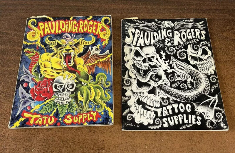 Rare 2 Vintage Spaulding Rogers Tattoo Catalogs Original From Years 1984 & 1985