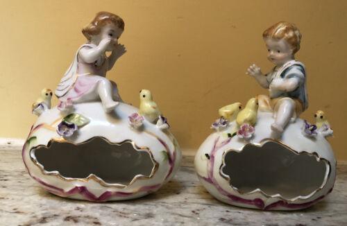 Pair Ardalt Verithin Boy & Girl on Egg Easter Trinket Box Chicks Flowers Easter