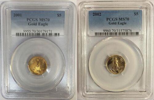 2001 & 2002 $5 GOLD EAGLE PCGS MS70 2 COIN SET LOW POP 95 & 104
