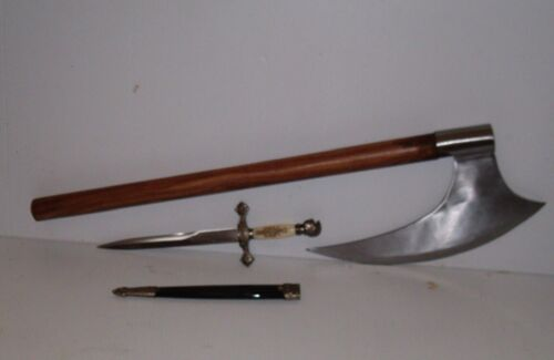 """27"""" MEDIEVAL BEARDED  BLADE  VIKING BATTLE AXE +  KNIGHTS DAGGER & FREE SHIPPING"""
