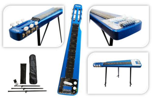 Nashville by QUINCY 6 String LAP Steel Slide GUITAR legs tone bar Metallic BLUE