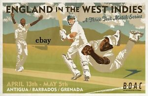 ENGLAND V WEST INDIES CRICKET POSTER NEW A4 PRINT BOAC ANTIGUA BARBADOS GRENADA