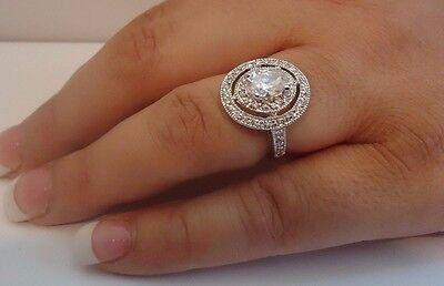 LADIES ROUND CENTER  RING 925 STERLING SILVER W/ 3.50 CT DIAMONDS/ SZ 5 - 9