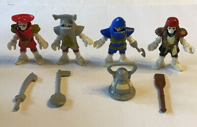 Set of 4 Fisher Price IMAGINEXT Skeleton Pirate Shark Knights Weapons suits