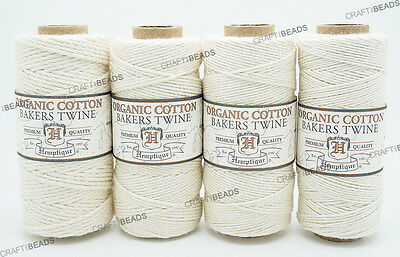 Natural White - Organic Bakers Twine 100% Cotton Hemptique Macrame Craft - Bakers Twine