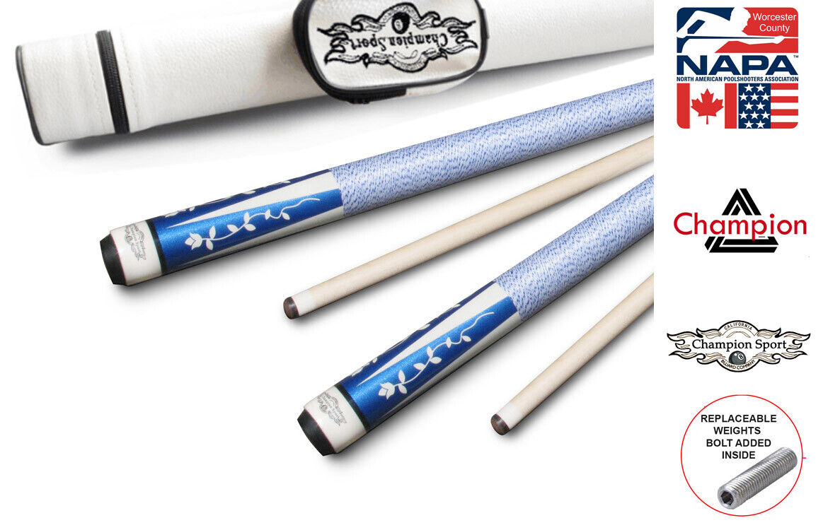Champion TR5 Blue Pool Cue Stick with Low Deflection Shaft,