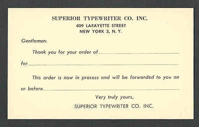 CA 1952 PC NY SUPERIOR TYPEWRITER CO ORDER ACKNOWLEDGED UNPOSTED