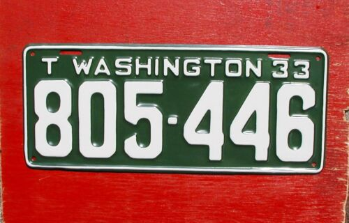 1933 Washington Nice Restored TRUCK 805-446  License Plate