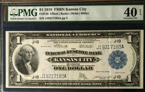 SERIES 1918 $1 DOLLAR PMG40 EPQ NATIONALCURRENCY FEDERAL RESERVEBANK KANSAS CITY