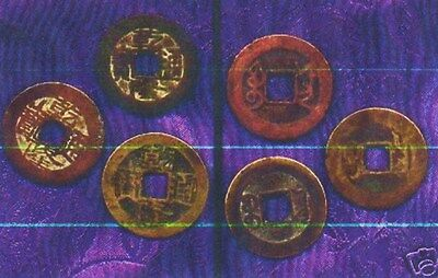CHINESE CASH COINS 3 GENUINE ANTIQUE * I CHING * FENG SHUI 150to300yrsOLD*NO=RSV