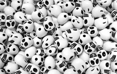 Fun Crafts For Halloween (White Skulls Beads for Halloween crafts party goth jewelry scary)