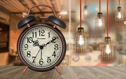Small Antique Alarm Clock Vintage Desk Arabic Silent Non Ticking Battery Loud