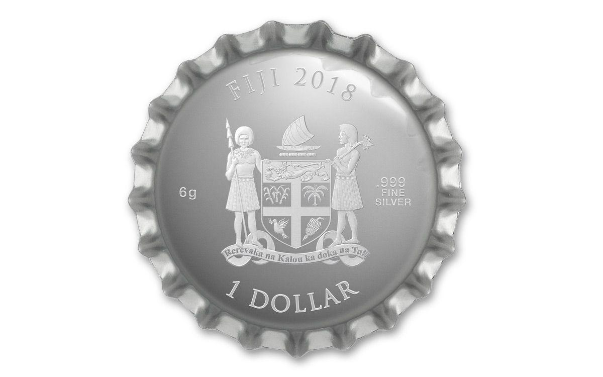 Coca-Cola Collectible Bottle Cap-Shaped 6g .999 Silver Proof $1 Coin Fiji COKE