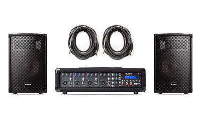 (Alesis PA System in a Box Bundle - 280 Watt 4-Channel Powered Mixer + Speakers)