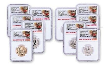 2018-S STATI UNITI Argento Reverse Proof Set 10pc. NGC Pf70 Early Stampe Trolley