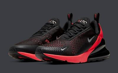 Nike Air Max 270 Black Solar Red AH8050-026 Running Shoes Men's Multi Size NEW