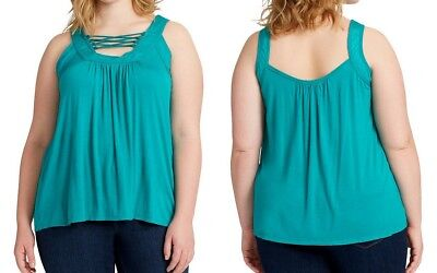 Jessica Simpson Women's Plus Size Strappy-Front Tank Top 30002396, Blue Grass 2X ()