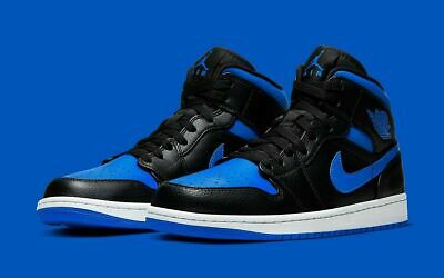 Nike Air Jordan 1 Mid Basketball Shoes Black Hyper Royal 554724-068 Men's NEW