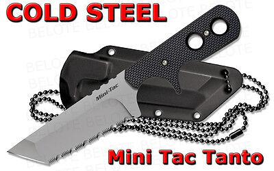 Cold Steel Mini Tac Tanto Serrated Fixed Blade w/ Secure-Ex Neck Sheath 49HTFS (Serrated Secure Ex Sheath)