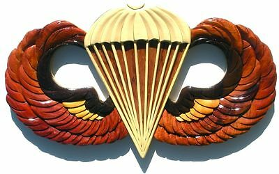 ARMY BASIC PARACHUTIST BADGE  - JUMP WINGS  Handcrafted Wooden Military Plaques