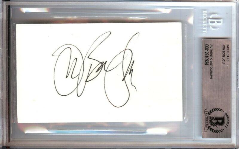 Jon Bon Jovi Signed Autographed 3X5 Index Card Legendary Rocker Beckett BGS