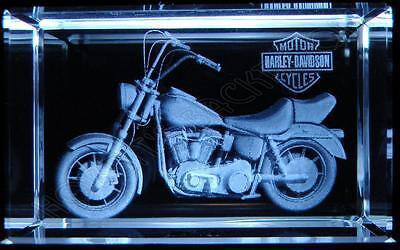 Crystal Glass Laser Etched Harley Motorbike Ornament BNIB (sb17)