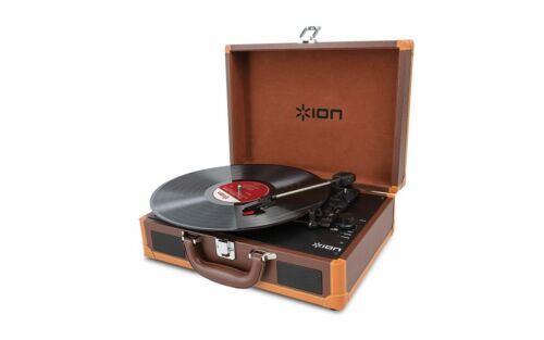 Ion Audio Vinyl Motion Deluxe Rechargeable Suitcase Record Player With Speakers