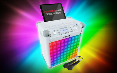 ION~Audio~Portable~Karaoke~Bluetooth~Music~Speaker~w/ Effects & Mic~White~Gift~