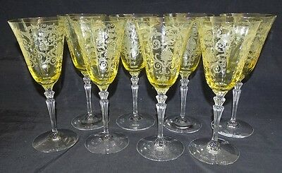 Fostoria USA Versailles Topaz/Yellow 8 Water Goblets -Two Tone Etched Art Deco