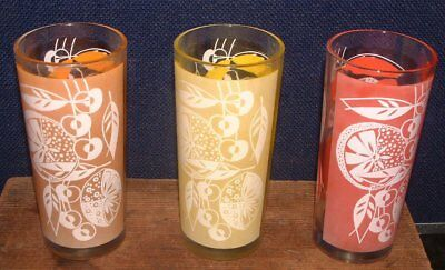 "3 Vintage 6"" Ice Tea Tumblers Red Yellow Brown Fruit Motif Frosted Panel"