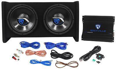 "Rockville RV10.2A 1000w Dual 10"" Car Subwoofer Courtyard+Mono Amplifier+Amp Kit"