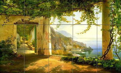 30 x 18 Art Amalfi Coast Tumbled Marble Mural Backsplash Bath Tile #170
