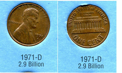 Used, 1971 D ABE Lincoln Memorial AMERICAN PENNY 1 CENT US U.S AMERICA ONE COIN #B2 for sale  Westlake