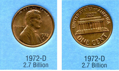 Used, 1972 D ABE Lincoln Memorial AMERICAN PENNY 1