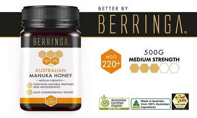 BERRINGA Certified Organic Australian Medium Strength 250g Manuka Honey MGO 220+