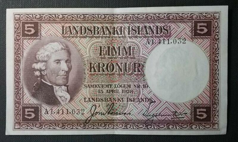 1928 Iceland Landsbanki Islands 5 Fimm Kronur Banknote
