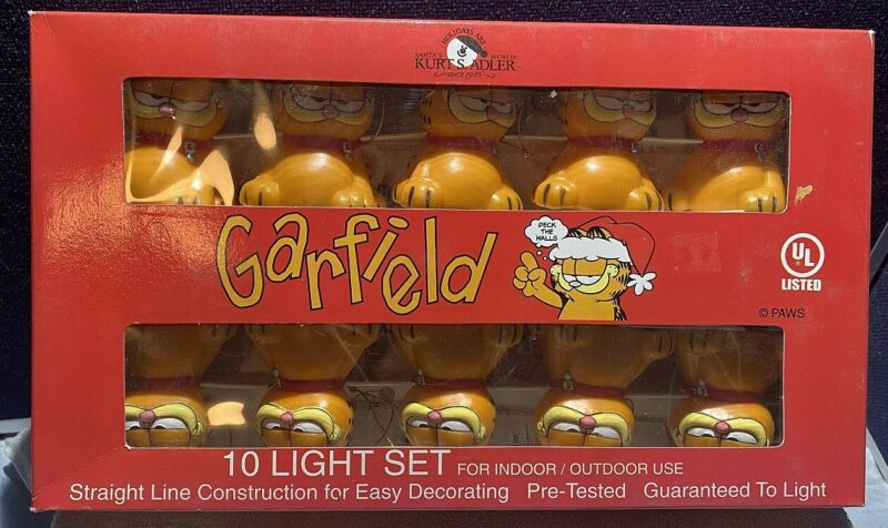 NOS Vintage 1998 Garfield String Light Set - 10 Light Set Indoor/Outdoor IOB