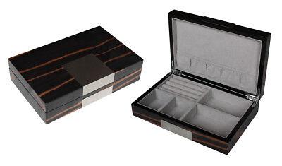 Hochwertige Schmuckbox Woolux aus Holz mit edlem Metallbeschlag Oberfläche glänz