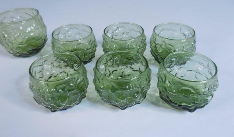 Anchor Hocking Lido Milano Avocado Green Round Rocks Glass Set of 6