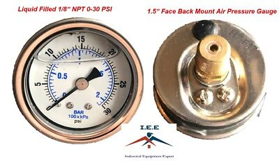 Liquid Filled 1.5 Face 0-30 Psi Air Pressure Gauge Back Mount 18 Npt