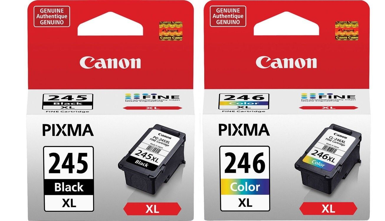 Genuine Canon PG-245 XL Black + CL-246 XL Color High Capacit