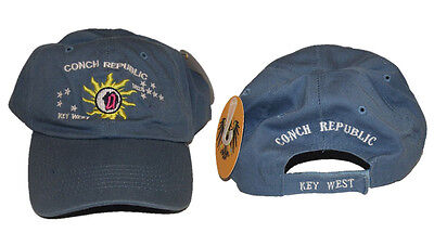 Key West Florida Conch Republic Deep Washed Light Blue Baseball Hat Cap  Ruf