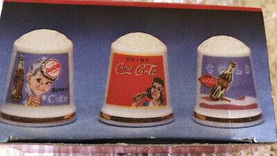 Vintage Porcelain Coca Cola Thimbles Gold Rimmed Coke Advertising