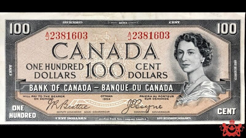 1954 Bank Of Canada 100$ Devil Face Beattie/Coyne A/J2381603 - VF35 -