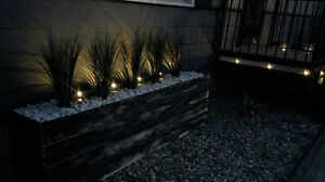 6'x2' cedar planter- grass and rock included, lights not