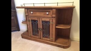 Beautiful vintage cabinet with stain glass and light