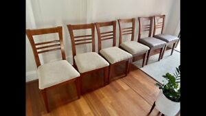 Wooden padded dining chairs x6
