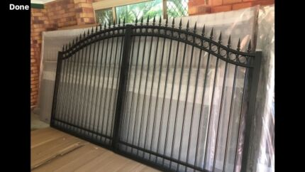 DOUBLE Driveway gate orate spear and ring new