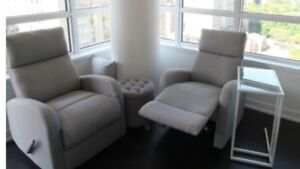 2 Recliner chairs and 1 storage stool