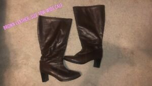 Brown leather wide calf boots - 10W
